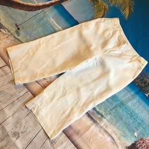 Anne Klein white linen wide leg trousers sz 8 cute